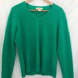 Green 100% cashmere women's sweater